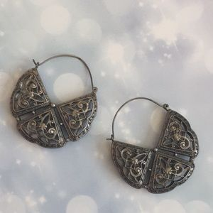 Lucky Brand boho antique silver hoop earrings